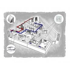 Комплект централізованої вентиляції для двокімнатної квартири   (м. Донецьк  вул. Ілліча)