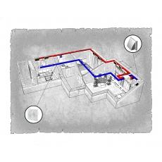 Комплект централізованої вентиляції для двокімнатної квартири   (м. Івано-Франківськ, вул. Стуса) тип 3
