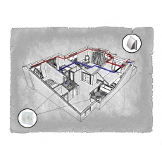 Комплект централізованої вентиляції для трикімнатної квартири  ( м.Львів, вул. Рильського)