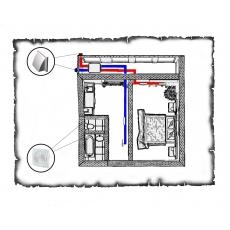 Централізована вентиляція  квартири старого фонду тип 3 (однокімнатна)